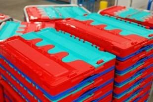 カゴ台車一体型プラコン洗浄脱水乾燥機(オリコン、コンテナ)