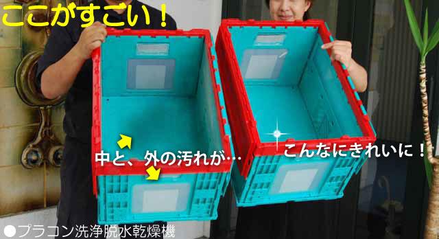カゴ台車一体型プラコン洗浄脱水乾燥機(全景)